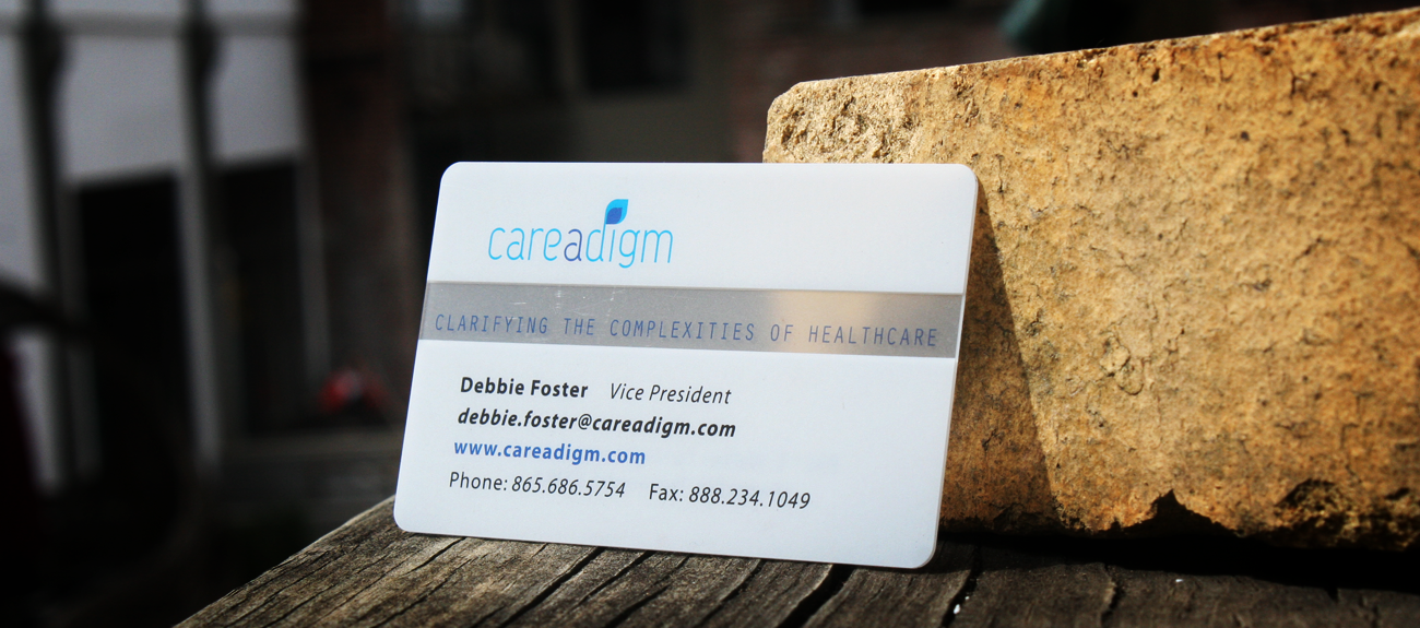 Knoxville based graphic design printing and web development careadigm contemporary business card design printed on frosted plastic stock full color both sides rounded corners reheart Gallery
