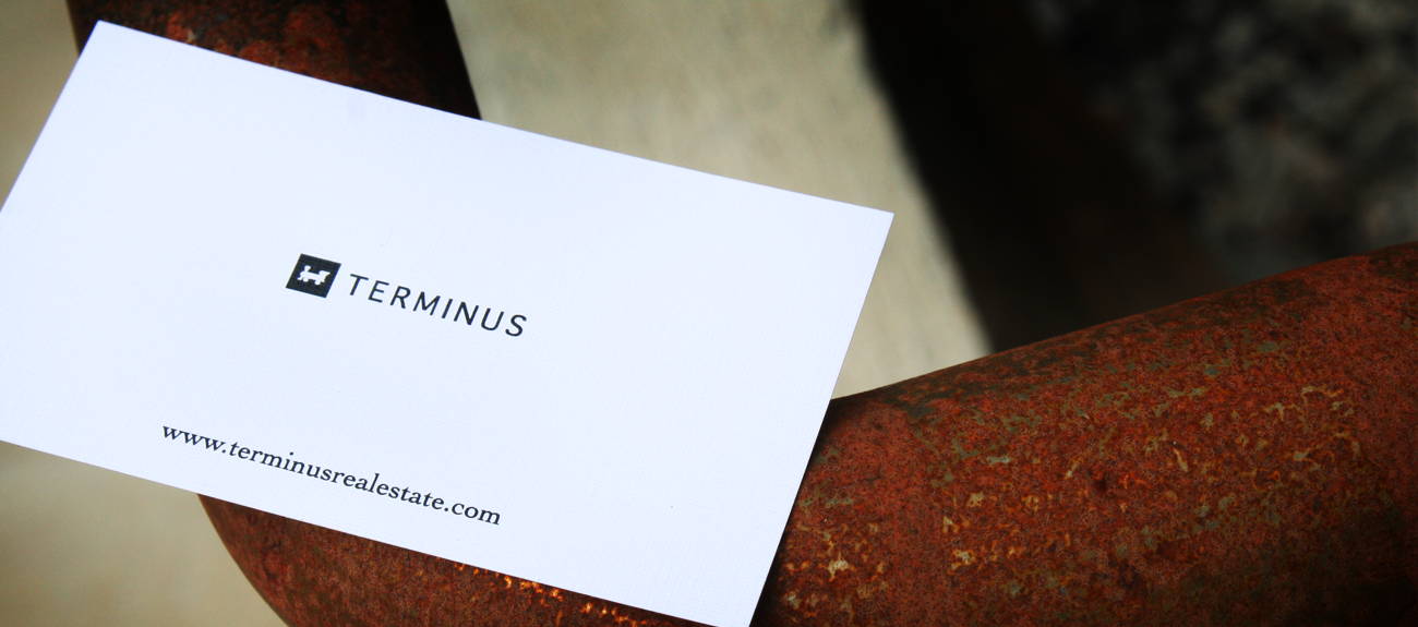 Knoxville based graphic design printing and web development terminus real estate contemporary business card design printed on 100 white linen minimalist design reheart Gallery
